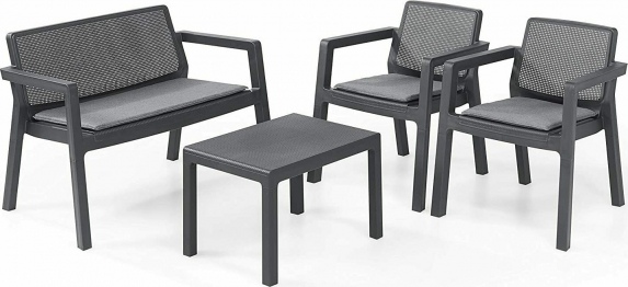 Σετ Κήπου 4τμχ Emily Lounge Set Graphite