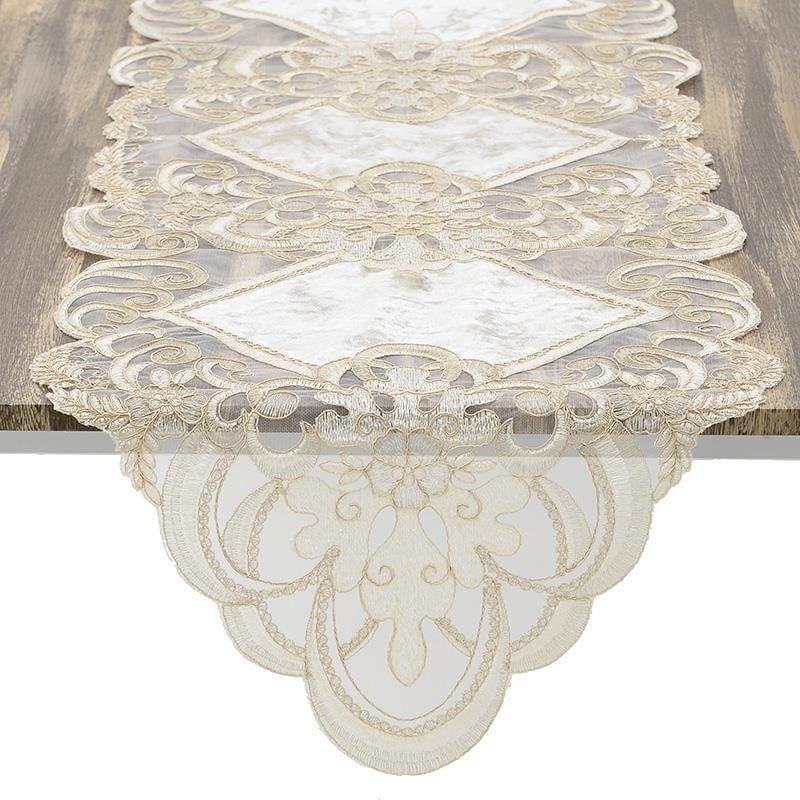 Τραβέρσα Υφασμάτινη Με Δαντέλα inart 40×140εκ. 3-40-240-0092 (Χρώμα: Λευκό) – inart – 3-40-240-0092