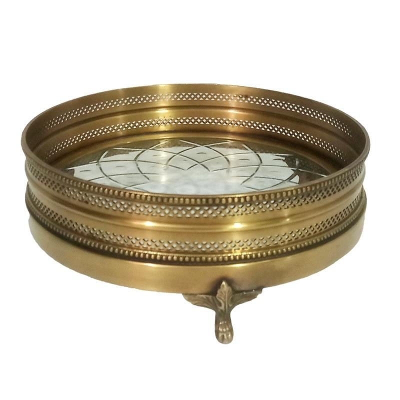 Δίσκος Μεταλλικός-Γυάλινος Χρυσός-Διάφανος inart 27x27x8εκ. 3-70-124-0041 (Υλικό: Μεταλλικό, Χρώμα: Χρυσό ) – inart – 3-70-124-0041
