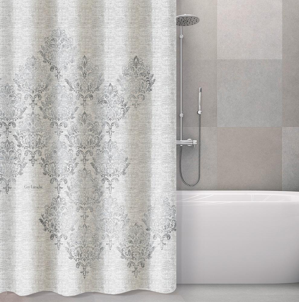 Κουρτίνα Μπάνιου Polyester Αδιάβροχη 180×190εκ. Style Silver Guy Laroche (Ύφασμα: Polyester, Χρώμα: Ασημί ) – Guy Laroche – 1128030218006