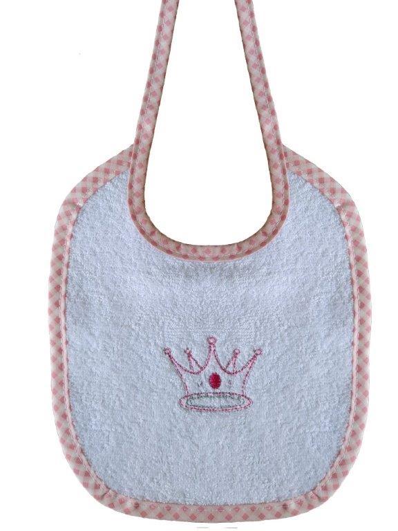 Σαλιάρα Με Κέντημα Βαμβακερή 19×24εκ. Princess 33 White-Pink Dimcol (Ύφασμα: Βαμβάκι 100%, Χρώμα: Λευκό) – DimCol – 1213617401503319
