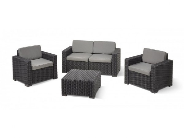 Σετ Κήπου 4τμχ Wicker California Lounge Set Graphite - Allibert - california-lounge-set-graphite