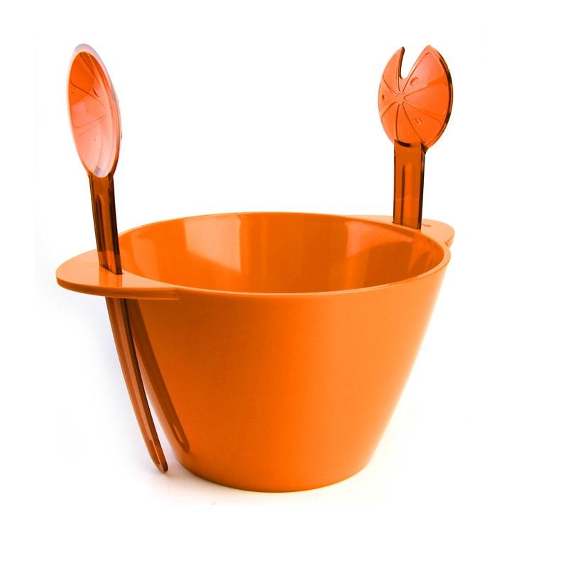 Μπωλ Σερβιρίσματος Σετ 3τμχ Με Κουτάλες Πορτοκαλί – VELTIHOME – 21-16139-orange