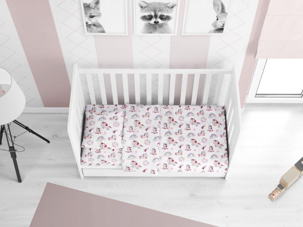Παπλωματοθήκη Βαμβακερή Κούνιας 120×160εκ. Unicorn 108 White-Pink DIMcol (Ύφασμα: Βαμβάκι 100%, Χρώμα: Λευκό) – DimCol – 1915717606410844