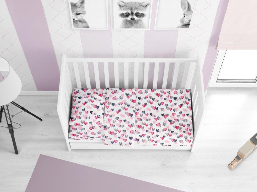 Παπλωματοθήκη Βαμβακερή Κούνιας 120×160εκ. Hearts 12 Grey-Pink DIMcol (Ύφασμα: Βαμβάκι 100%, Χρώμα: Ροζ) – DimCol – 1915717607801289