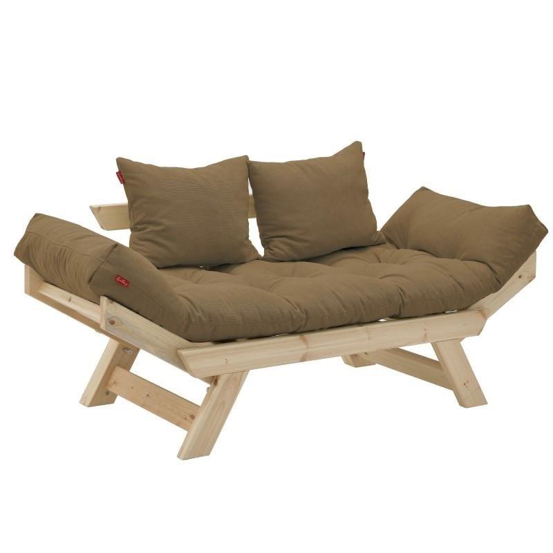 Καναπές διθέσιος Ξύλινος-Υφασμάτινος inart 160x80x70εκ. 6-50-881-0003 (Υλικό: Ξύλο, Χρώμα: Καφέ) – inart – 6-50-881-0003