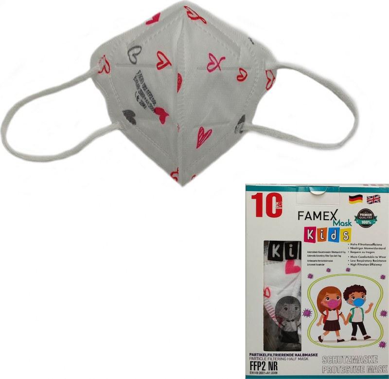 Μάσκα Προστασίας Παιδική Σετ 10τμχ Famex NR Hearts – OEM – ffp2-kids-hearts