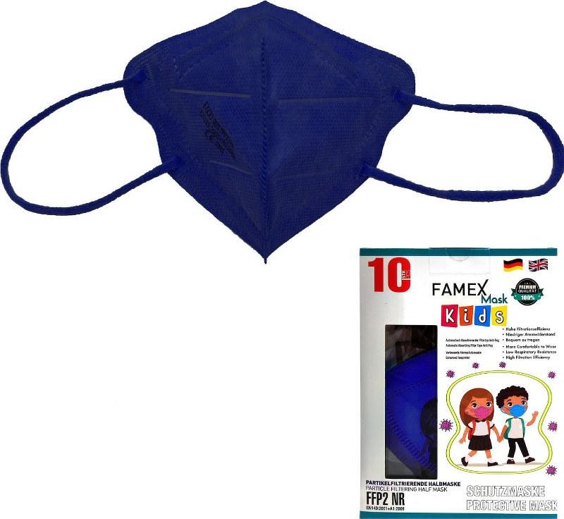 Μάσκα Προστασίας Παιδική Σετ 10τμχ Famex NR Blue (Χρώμα: Μπλε) – OEM – ffp2-kids-blue
