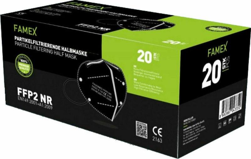 Μάσκα Προστασίας Ενηλίκων Σετ 20τμχ Famex Protective NR FFP2 Μαύρη (Χρώμα: Μαύρο) – OEM – ffp2-adult-black