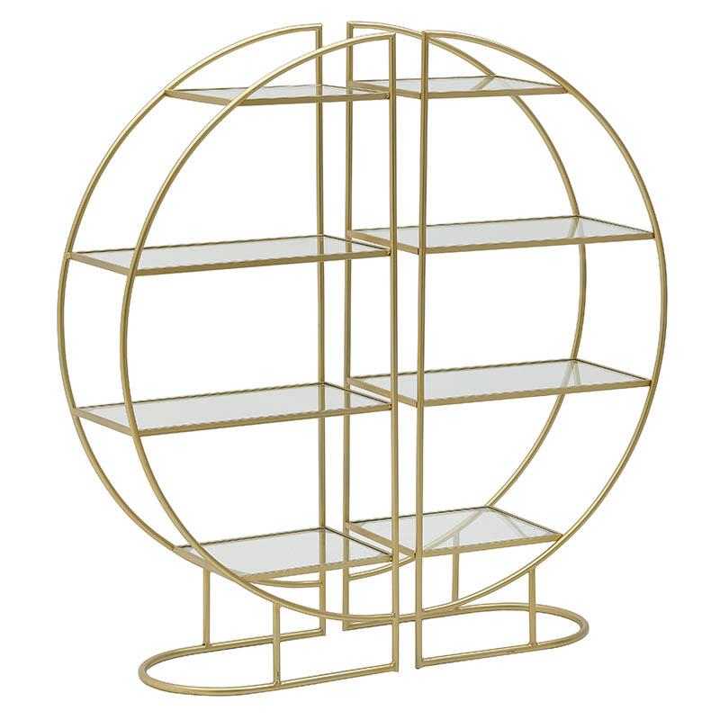 Ραφιέρα Σετ 2τμχ Μεταλλική-Γυάλινη inart 55x30x120εκ. 3-50-698-0010 (Υλικό: Μεταλλικό, Χρώμα: Χρυσό ) – inart – 3-50-698-0010