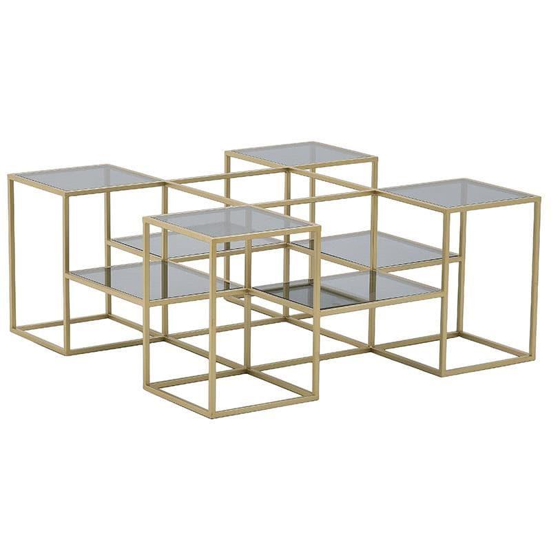 Τραπέζι Σαλονιού Μεταλλικό-Γυάλινο Χρυσό-Μαύρο inart 100x100x43εκ. 3-50-954-0094 (Υλικό: Μεταλλικό, Χρώμα: Μαύρο) – inart – 3-50-954-0094
