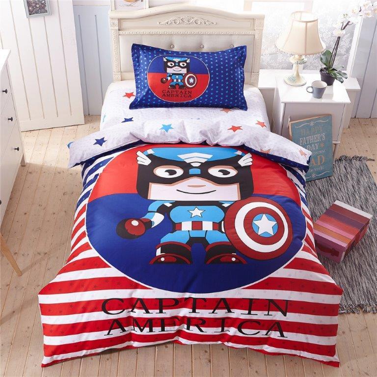 Σετ Παπλωματοθήκη Βαμβακερή Μονή 160×240εκ. Captain America MClinen 4921 (Ύφασμα: Βαμβάκι 100%) – mcLinen – 4921-th1