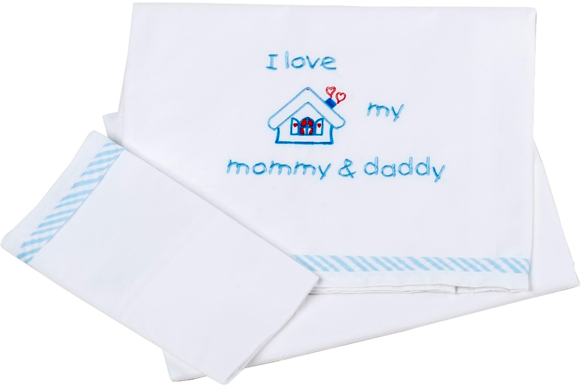 Σετ Σεντόνια Μπεμπέ 100x160εκ. Love 0202 Blue - Ο Κόσμος του Μωρού - 16-0202-lov λευκα ειδη παιδί σεντόνια μπεμπέ