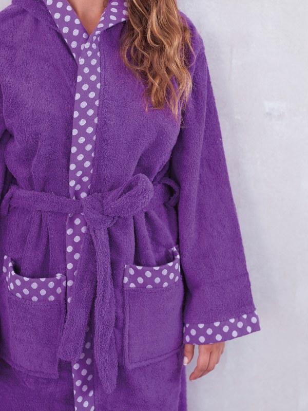 Μπουρνούζι Με Κουκoύλα Palamaiki DOTS-orchid-large - Palamaiki - dots-bathrobe-o λευκα ειδη mπάνιο μπουρνούζια