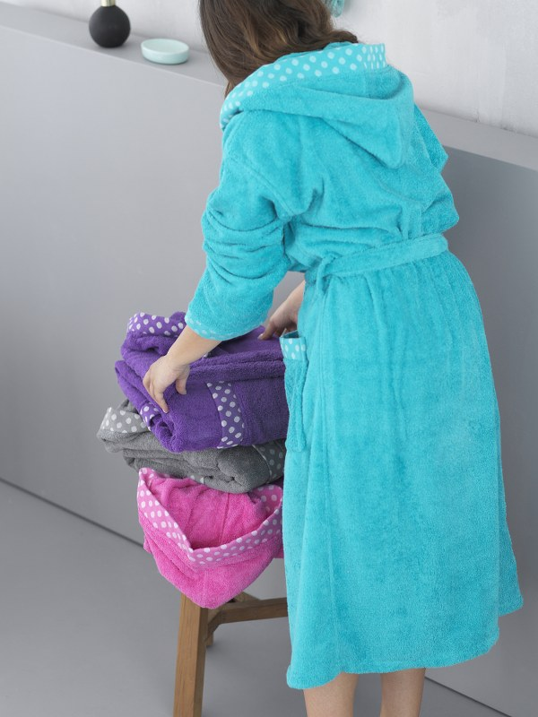 Μπουρνούζι Με Κουκoύλα Palamaiki DOTS-tyrquoise-medium - Palamaiki - dots-bathro λευκα ειδη mπάνιο μπουρνούζια
