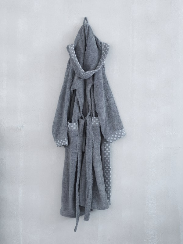 Μπουρνούζι Με Κουκoύλα Palamaiki DOTS-grey-extra large – Palamaiki – dots-bathrobe-grey-extra large