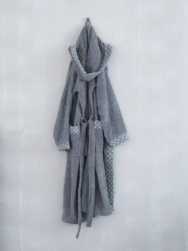 Μπουρνούζι Με Κουκoύλα Palamaiki DOTS-grey-large – Palamaiki – dots-bathrobe-grey-large
