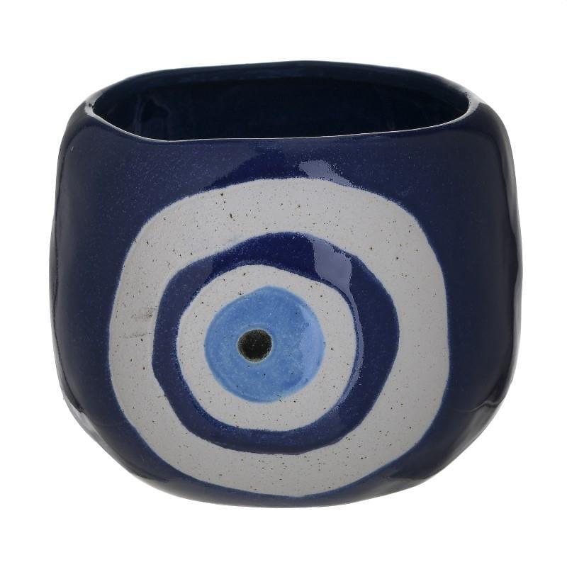 Κασπώ Κεραμικό Μάτι Λευκό-Μπλε inart 17×13εκ. 3-70-354-0034 (Υλικό: Κεραμικό, Χρώμα: Λευκό) – inart – 3-70-354-0034