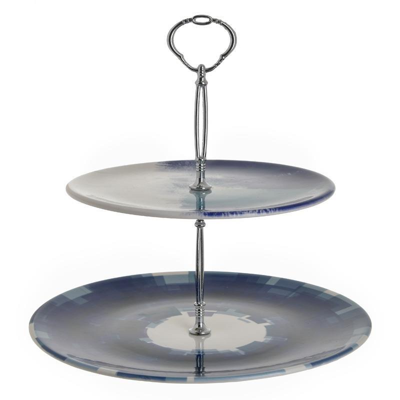 Ορντεβιέρα 2 Όροφη Κεραμική inart 27×30εκ. 3-60-022-0011 (Υλικό: Κεραμικό, Χρώμα: Λευκό) – inart – 3-60-022-0011