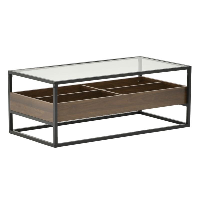 Τραπέζι Σαλονιού Μεταλλικό Με Γυάλινη Επιφάνεια Καφέ-Μαύρο CLICK 110x55x42εκ. 6-50-585-0018 (Υλικό: Μεταλλικό, Χρώμα: Μαύρο) – CLICK – 6-50-585-0018