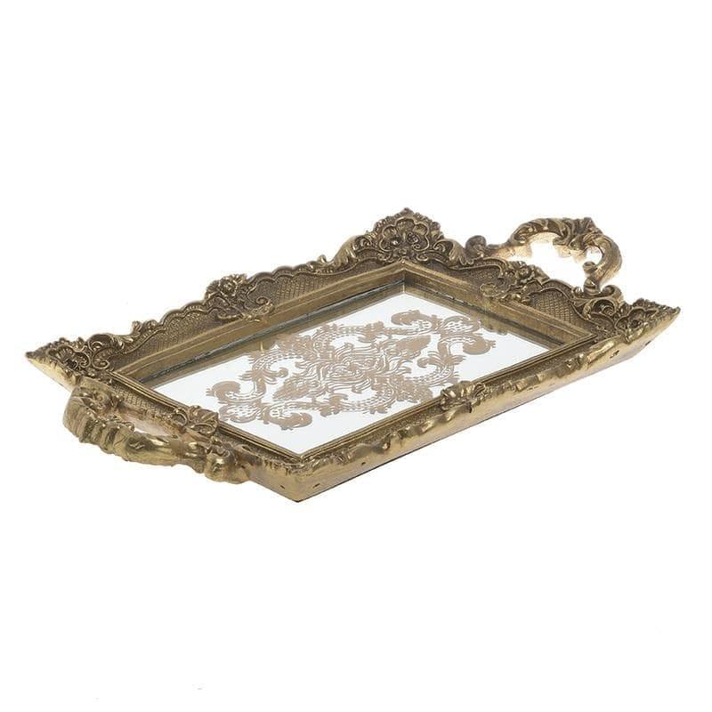 Δίσκος Σερβιρίσματος Polyresin Με Καθρέπτη Αντικέ Χρυσός inart 38x22x4εκ. 3-70-446-0041 (Υλικό: Polyresin, Χρώμα: Χρυσό ) – inart – 3-70-446-0041