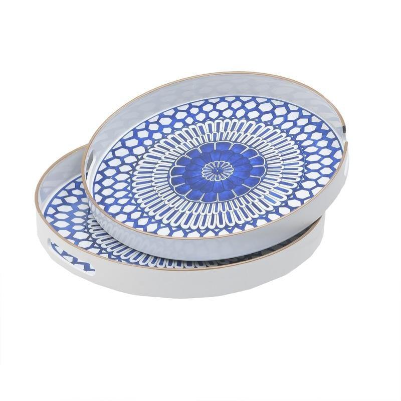 Δίσκος Σερβιρίσματος Σετ 2τμχ Πλαστικός Μπλε-Λευκό inart 37x37x4εκ. 3-70-973-0016 (Υλικό: Πλαστικό, Χρώμα: Λευκό) – inart – 3-70-973-0016