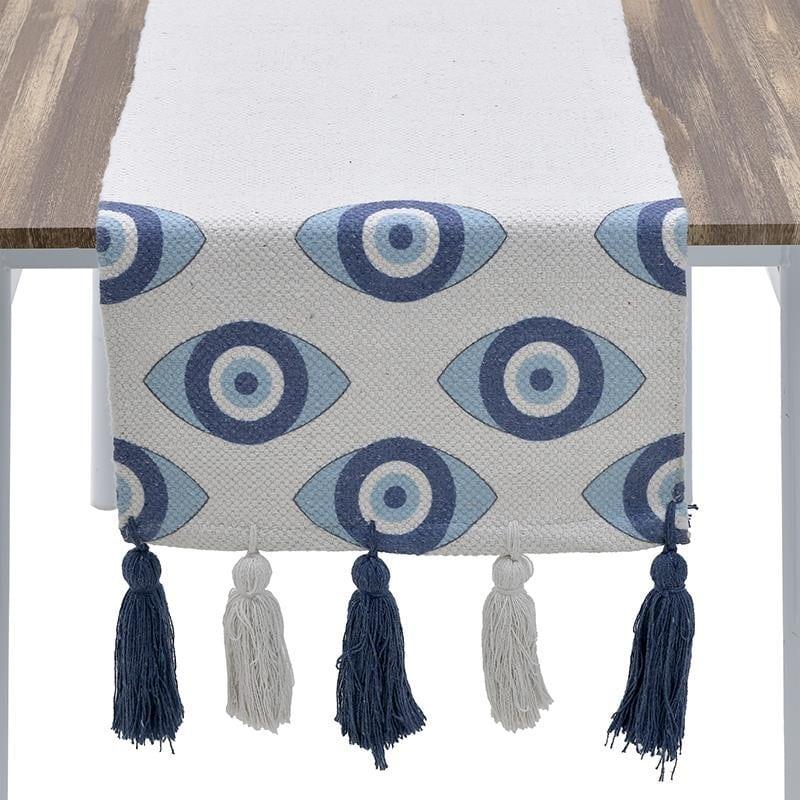 Τραβέρσα Βαμβακερή Μάτι Λευκή-Μπλε inart 40×140εκ. 3-40-485-0028 (Ύφασμα: Βαμβάκι 100%, Χρώμα: Λευκό) – inart – 3-40-485-0028