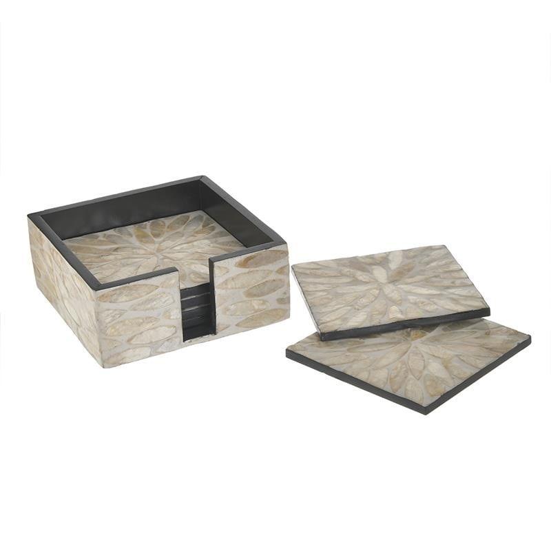 Σουβέρ Σετ 6τμχ Με Βάση Ξύλινο Εκρού-Χρυσό inart 12x12x5εκ. 3-70-564-0097 (Υλικό: Ξύλο, Χρώμα: Εκρού ) – inart – 3-70-564-0097