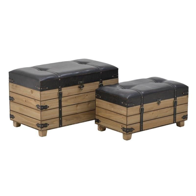 Σετ Μπαούλο-Σκαμπώ 2τμχ Ξύλινο-Pu inart 70x40x43εκ. 3-50-838-0034 (Υλικό: Ξύλο, Χρώμα: Μαύρο) – inart – 3-50-838-0034
