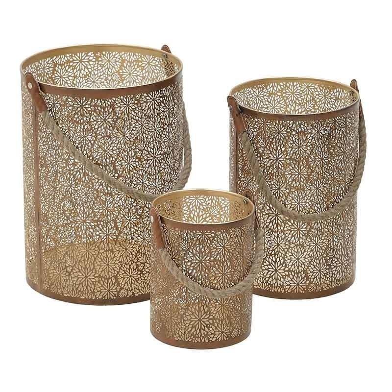 Φανάρι Σετ 3τμχ Αντικέ Μεταλλικό inart 25x25x42εκ. 3-70-661-0013 (Υλικό: Μεταλλικό, Χρώμα: Χρυσό ) – inart – 3-70-661-0013