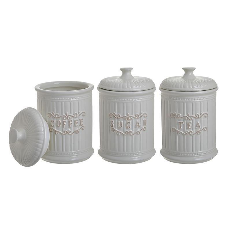 Δοχείο Σετ 3τμχ Καφέ-Ζάχαρη-Τσάι Πορσελάνης CLICK 11x11x17εκ. 6-60-690-0012 (Υλικό: Πορσελάνη, Χρώμα: Λευκό) – CLICK – 6-60-690-0012