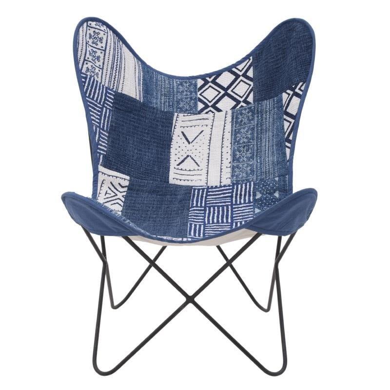 Καρέκλα Πεταλούδα Μεταλλική-Υφασμάτινη inart 65x74x85εκ. 7-50-122-0028 (Υλικό: Μεταλλικό, Χρώμα: Λευκό) – inart – 7-50-122-0028