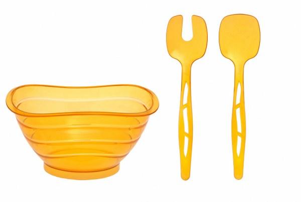 Σαλατιέρα με Κουτάλες Κίτρινη - OEM - 4-ASD080/Y κουζινα πιάτα   σερβίτσια