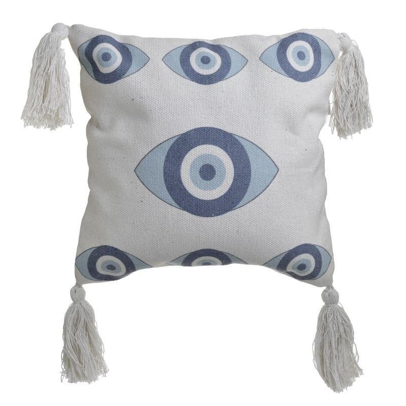 Διακοσμητικό Μαξιλάρι Βαμβακερό Μάτι Λευκό-Μπλε inart 45×45εκ. 3-40-485-0029 (Ύφασμα: Βαμβάκι 100%, Χρώμα: Λευκό) – inart – 3-40-485-0029