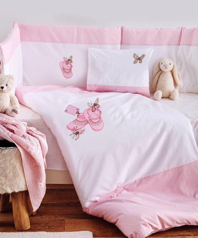 Σετ Κούνιας 3τμχ Βαμβακερά Ballerina Pink Sb home (Ύφασμα: Βαμβάκι 100%, Χρώμα: Ροζ) – Sb home – 5206864055933