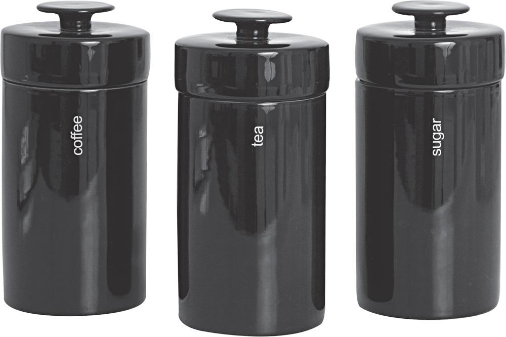 Σετ 3 Βάζα Κουζίνας Μαύρα – Salt & Pepper – BAM34319-1