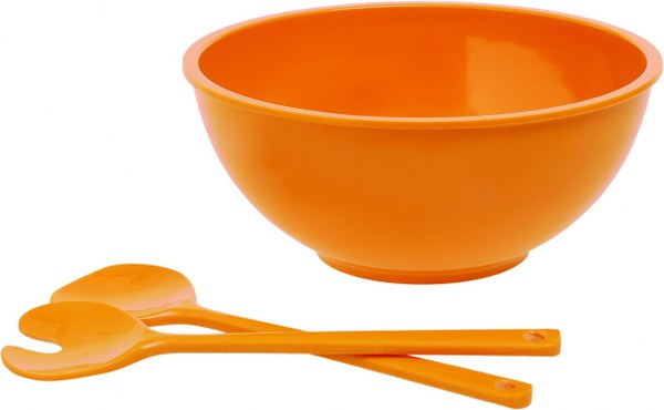 Σαλατιέρα με Κουτάλες Πορτοκαλί - OEM - 4-BIT20323O κουζινα πιάτα   σερβίτσια