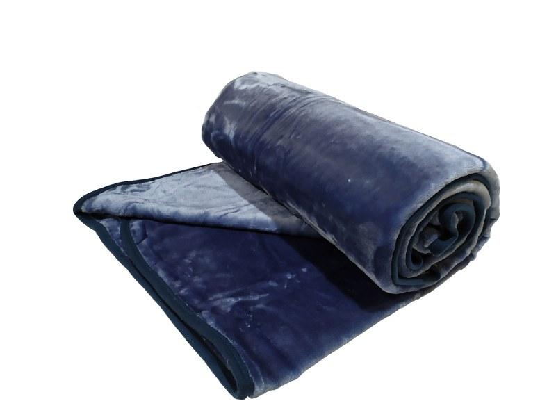 Κουβέρτα Βελουτέ Μονή 160×220εκ. Blue-Grey (Ύφασμα: Polyester, Χρώμα: Μπλε) – OEM – 5201847011029-4