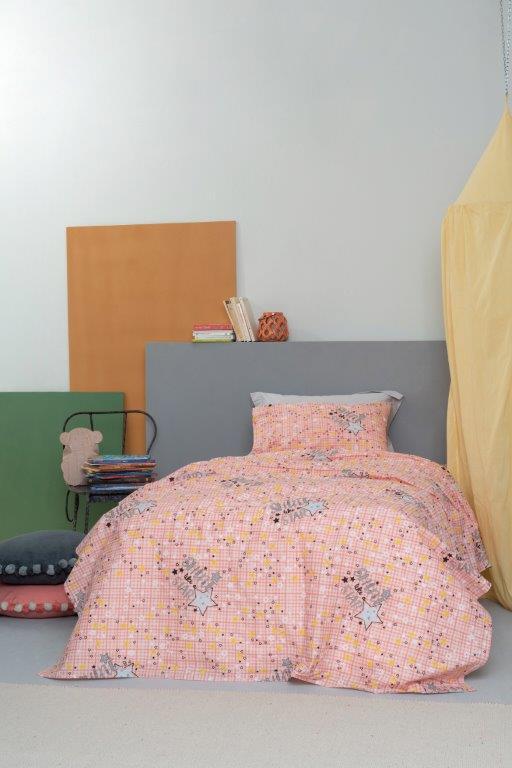 Σετ Παπλωματοθήκη Φωσφοριζέ Βαμβακερή Ημίδιπλη 170×250εκ. Cluster Pink Palamaiki (Ύφασμα: Βαμβάκι 100%, Χρώμα: Ροζ) – Palamaiki – 5205857230975