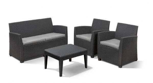 Σετ Κήπου 4τμχ Wicker Corona Lounge Set Graphite – Allibert – corona-lounge-set-graphite