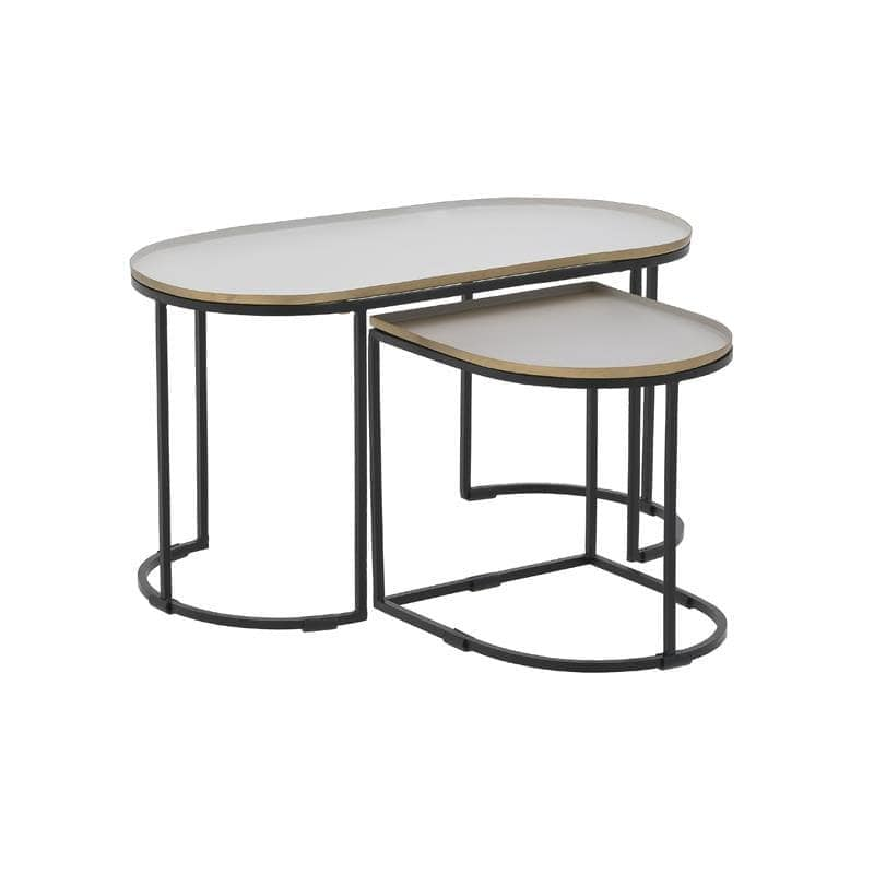 Τραπέζι Σετ 2τμχ Μεταλλικό inart 70x35x36εκ. 3-50-650-0020 (Υλικό: Μεταλλικό, Χρώμα: Μαύρο) – inart – 3-50-650-0020