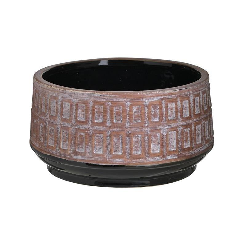 Διακοσμητικό Μπωλ Κεραμικό Αντικέ Μπεζ-Μαύρο inart 25x25x14εκ. 3-70-685-0239 (Υλικό: Κεραμικό, Χρώμα: Μαύρο) – inart – 3-70-685-0239