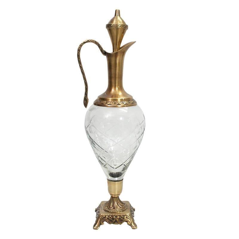 Διακοσμητική Καράφα Μεταλλική-Γυάλινη Χρυσή-Διάφανη inart 13x13x50εκ. (Υλικό: Μεταλλικό, Χρώμα: Χρυσό ) – inart – 3-70-124-0040