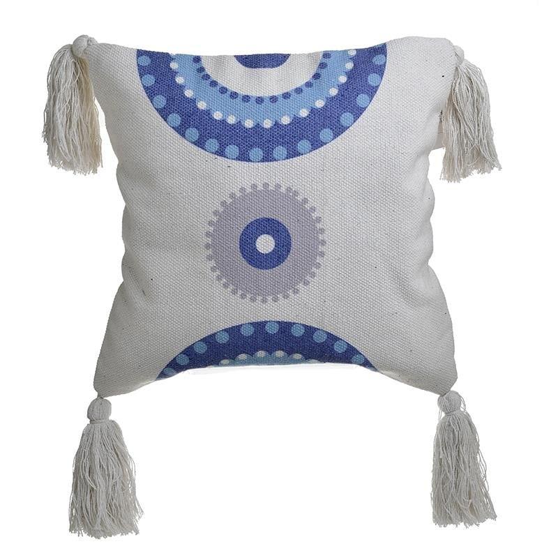 Μαξιλάρι Βαμβακερό Μάτι Λευκό-Μπλε inart 45×45εκ. 3-40-485-0025 (Ύφασμα: Βαμβάκι 100%, Χρώμα: Λευκό) – inart – 3-40-485-0025