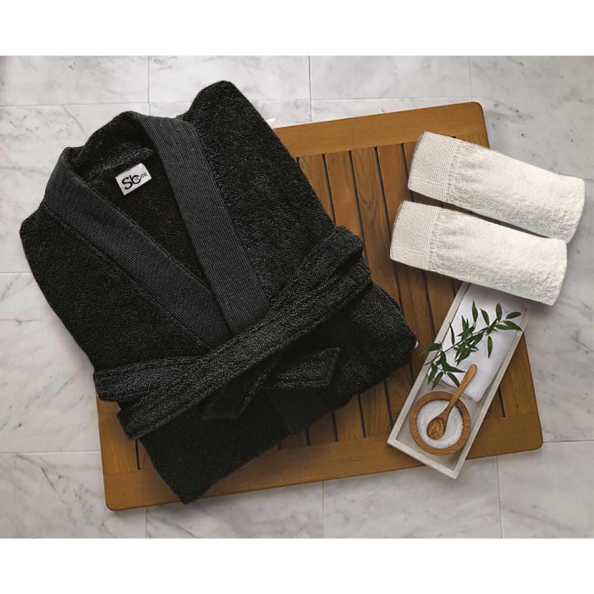Μπουρνούζι Με Γιακά Βαμβακερό Extra Large Elegante Black Sb home (Ύφασμα: Βαμβάκι 100%) – Sb home – 5206864061064