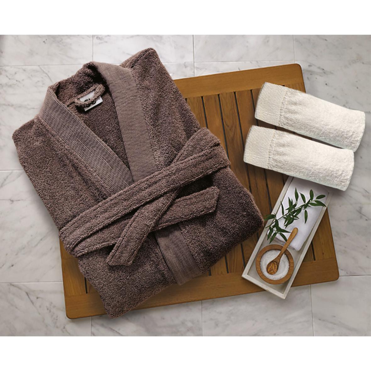 Μπουρνούζι Με Γιακά Βαμβακερό Medium Elegante Grey Sb home (Ύφασμα: Βαμβάκι 100%) – Sb home – 5206864061224