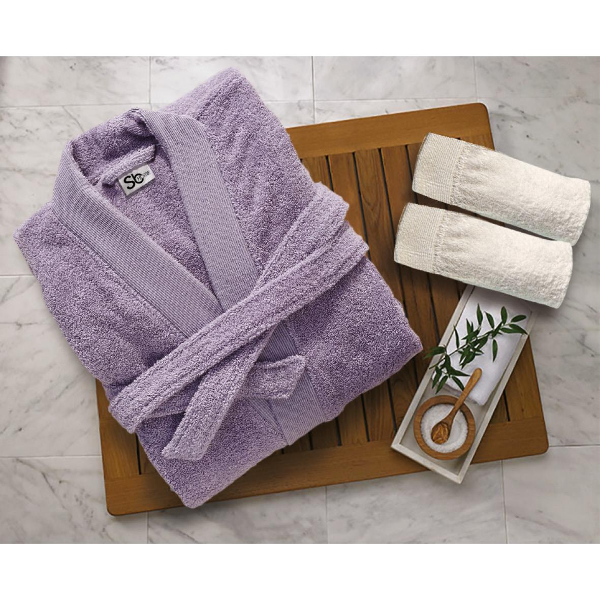 Μπουρνούζι Με Γιακά Βαμβακερό Extra Large Elegante Lilac Sb home (Ύφασμα: Βαμβάκι 100%) – Sb home – 5206864061187