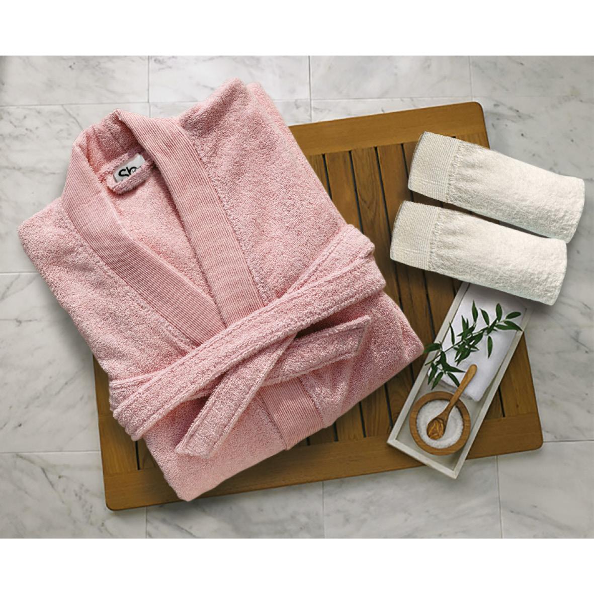 Μπουρνούζι Με Γιακά Βαμβακερό Extra Large Elegante Pink Sb home (Ύφασμα: Βαμβάκι 100%) – Sb home – 5206864061101