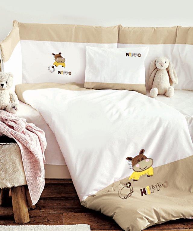 Σετ Κούνιας 3τμχ Βαμβακερά Hippo Beige Sb home (Ύφασμα: Βαμβάκι 100%, Χρώμα: Μπεζ) – Sb home – 5206864055940