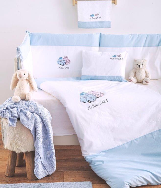 Σετ Κούνιας 3τμχ Βαμβακερά My Baby Car Blue Sb home (Ύφασμα: Βαμβάκι 100%, Χρώμα: Μπλε) – Sb home – 5206864055889